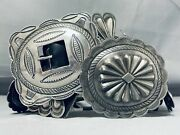 514 Grams Heavy Vintage Navajo Sterling Silver Hand Tooled Concho Belt