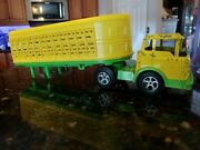 Vintage Hubley Kiddie Toy Plastic Cattle Semi Truck And Trailer Yellow Green