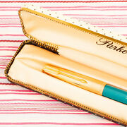 Vintage Parker 61 Rolled Gold Turquoise Double-jewel Fountain Pen Box Mint Chalk