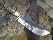 Ubr Custom Handmade High Carbon Steel Hunting Bowie Knife With Stag Horn Handle