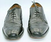 Forsheim Black Fully Brogued Lace Up Wing Tip Oxford Shoes Sz 10 D