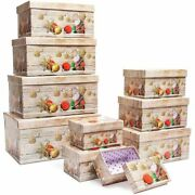 Christmas Nesting Gift Boxes With Lids Ornaments Design 10 Pack