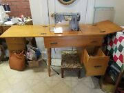 Vintage Singer Sewing Machine In Cabinet, Has Cam. Works Great