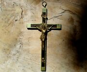 Beautiful Large Old Antique Crucifix Church Wall Cross Over 8-1/4
