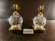 Pair Of 2 Waterford Lismore Fine Cut Crystal Table Lamps W/ Solid Brass Bases