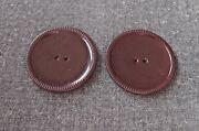 2 Antique 1930's Flapper Striped Rims Brownish Burgundy Celluloid Large Buttons