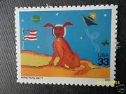 Childrenand039s Child Drawing On Stamp Astronaut Dog On The Moon In Space Us Postage
