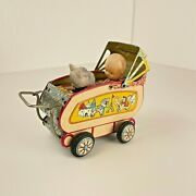 Vintage Sankei Baby And Terrier In Carriage Celluloid And Tin Friction Toy, Japan
