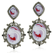 Carved Cameo Natural Diamond 18k Gold Sterling Silver Dangle Earrings Jewelry