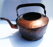 Antique 18th Century Hammered Copper Goose Neck Tea Kettle, Dovetail Joint