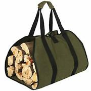 Hrx Package Waxed Canvas Firewood Bag Carrier, Water Resistant Log Tote Wood Car