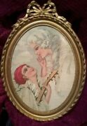 Rare Antique Tapestry Framed Signed Very Old Collectable Art Vintage French