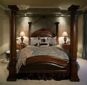 Wood Canopy Bed Frame Queen Size