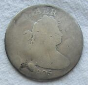 1805 25c Draped Bust Quarter Rare Key Date Type Coin Full Date Shows Damaged