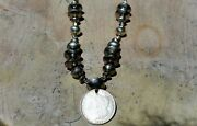 Old Navajo Buffalo Nickels And Mercury Dimes And Sterling Silver Bench Bead Necklace