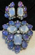 Alice Caviness Rare Vintage Signed Purple Art Glass Brooch And Earrings Book Set