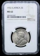1932 2 1/2 Shillings South Africa George V Unc Ngc Ms62 Half Crown