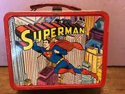 Rare Vintage Superman Metal Lunchbox With Thermos 1967