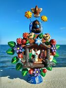 Tree Of Life Mexican Folk Art Candelabra Christmas Holy Family With Baby 9