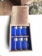 Antique 19th Cent Chinese Export Solid Silver 6 Wine Cups In Wooden Box Or Case