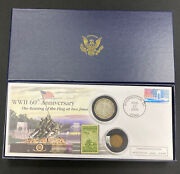 Ww Ii 60th Anniversary 2 Coin And Stamp Raising Of The Flag At Iwo Jima