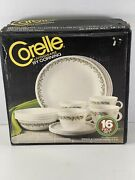 Corelle Complete Set 16 Piece New In Box Dinnerware Spring Blossom Green Vintage