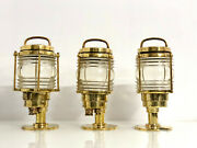 Vintage Marine Refurbished Brass Nautical Antique Electric Lamps Lot Of 3
