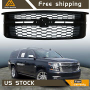 Front Upper Grille Gloss Black Grill Fit For 2015-20 Chevy Tahoe Suburban Ls Lt