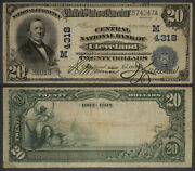 Cleveland Oh 20 1902 Db National Bank Note Ch 4318 Central Nb F/vf