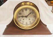 1910-1914 Brass Chelsea Shipand039s Bell Clock W/original Wood Stand 6 Inch Dial
