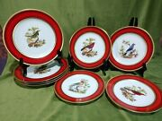 Jardin Du Roi Plates In Red With Gold Trim - 4 Dinner 10.25 And 4 Salad 8