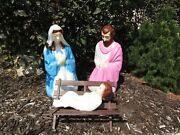 Vintage Blow Mold Med Outdoor Nativity Set Lighted Christmas Plastic 4 Pc And Box