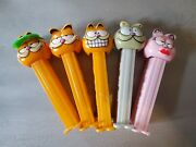 Lot Of Vtg Garfield Pez Dispensers With Feet Made In Slovenia And China- 1980s