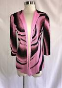 Ming Wang Size S Knit Pink Black Abstract Print Open Front Cardigan Jacket S