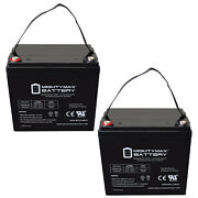 Mighty Max 12v 55ah Internal Thread Replacement Battery For Quickie V521 - 2pack