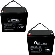 Mighty Max 12v 55ah Int Replacement Battery For Scada Systems Agm Solar - 2 Pack