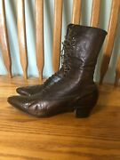 Antique Victorian Edwardian Era Womens Laceup Leather Brown Boots Shoes