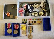 Ww1 Ww2 Lot Of Military Items Patches Medals Pins Dog Tags Walter A Borgeson