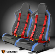 Pair Blue Pvc Leather White Stitch Racing Seats+red 4-point Seat Belts Harness
