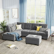 3-piece Sectional Storage Sofa Modern Furniture Set Casual Couch L-shaped Gray