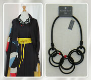 Bnwt Lagenlook Statement Black Rubber Linked Loops Red Accent Necklace