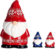 Bico Red Christmas Gnome 11 Inch Air Tight Cookie Jar With Salt And Pepper Set