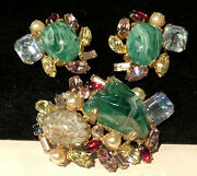 Alice Caviness Rare Vintage Signed Art Glass Brooch And Earrings Book Set A25