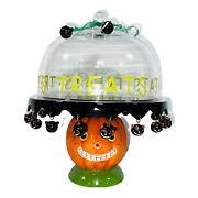 Extremely Rare Department 56 Halloween Cake Treat Serving Plate Holder W Dome