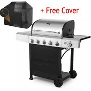 4+1 Burner Backyard Patio Stainless Steel Outdoor Cooking Bbq Gas Grill + Cover