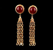 Vintage Givenchy Signed Red Glass Gold Plate Drop Dangle Chain Clip On Earrings
