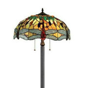 Hues Of Amber Style Dragonfly Design Stained Glass 2-light Floor Lamp