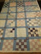 Vintage Crib Cutter Quilt 40 X 58 Patchwork Worn And Tattered