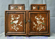 16old China Huanghuali Wood Inlay Shell Palace Flower Bird Drawer Small Cabinet