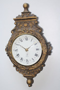 Antique Wooden Carved Wall Clock French Floral Ornament Roman Numerals 19721973